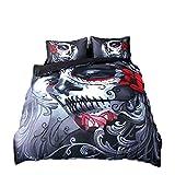 4pcs Housse de couette Définit 3d Impression Joker Parure de lit Tête de mort Halloween tête de mort avec housse de couette drap plat et taie d'oreiller, Red, 220*240cm for 2M Bed
