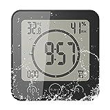 FORNORM Horloge de Salle de Bain, Alarme Numérique LCD Avec Horloge de Douche Tactile étanche, Humidité de la Température, Compte à Rebours, 3 Méthodes de Montage, Alimentation par Batterie