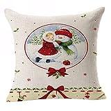 SpirWoRchlan Housse de coussin de Noël en lin pour canapé, lit, voiture, café, bureau