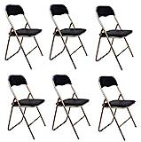 La Chaise espagnole – Lot de 6 chaises Pliantes en Aluminium avec Assise et Dossier rembourrés en PVC, modèle Sevilla, Couleur Noire, 78 x 43,5 x 46 cm
