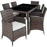 TecTake 800325 Salon de Jardin 6+1 en Poly Rotin avec Table + 6 Chaises, Vis en Acier Inoxydable - diverses Couleurs au Choix - (Gris   no. 403397)