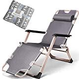 Chaise Longue Inclinable, Fauteuil de Jardin Inclinable Réglable Chaise Longue Pliante, Structure en Aluminium Chaise Longue à Trois Pieds, Coussin Amovibles, capacité de charge jusqu'à 200 kg,Gray