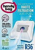 Melitta Handy Bag - R36 - 4 Sacs Aspirateurs, pour Aspirateurs Moulinex et Rowenta, Fermeture Hermétique, Filtre Anti-Allergène