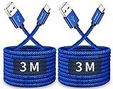 CLEEFUN Cable USB C Longue [3m 2-Pack], Rapide et Ultra Résistant Câble Chargeur pour Samsung Galaxy S10 S9 S8 S20 Plus S10e, A40 A50 A51 A70 A71, Xiaomi Redmi Note 8 8 Pro 8T 9 Pro 9S, Mi 9 9T Pro