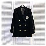 TDIDOJQ Veste Burede Dame noched Strass Badge Noir Velours Blazers Printemps Femmes métalliques Boutons de Veste de Costume à Double Boutonnage (Color : Black, Size : One Size)