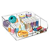 mDesign boîte de rangement ouverte pour les articles de couture ou de tricot – boîte en plastique pratique à 6 compartiments – caisse de rangement pour tiroir, armoire et placard – transparent