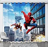 lubenwei Rideaux de fenêtre occultants en Microfibre Avengers Spiderman Hero 180(H) x125(W) Cmx2 Panneaux/Ensemble (B-939)
