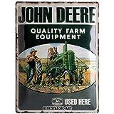 Retro Plaque Vintage John Deere – Quality – Idée de Cadeau pour Les Fans de tracteurs, en métal, Design décoration, 30 x 40 cm