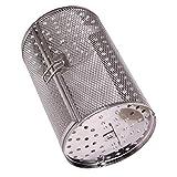 Cabilock Friteuse à air en acier inoxydable pour rôtisserie, cuisine, grille-pain, grille-pain, grille-pain pour cuire les noix, panier rotatif pour barbecue, ustensiles pour