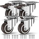 GBL - 4 Roulettes pour Meubles 200KG + 16 Vis, Roulettes Pivotantes 50mm Avec Frein et Sans Frein, Roues Plaques Industrielles Transport