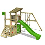 FATMOOSE Aire de jeux Portique bois FruityForest avec balançoire et toboggan vert pomme, Maison enfant exterieur avec bac à sable, échelle d'escalade & accessoires de jeux