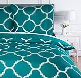 AmazonBasics Parure de lit avec housse de couette en microfibre, 200 x 200 cm, Bleu sarcelle (Teal Trellis)