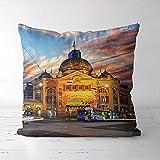 ASFDF Melbourne Comics taies d'oreiller Housse de Coussin (18x18 Pouces) lit canapé décor à la Maison Cadeau