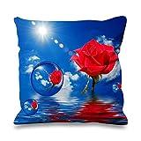 Rose Rouge Ciel Bleu avec bulles imitation soie 45cm x 45cm Canapé Coussin