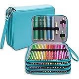 Grande trousse à crayons en similicuir avec 184 emplacements pour crayons de couleur portable, organiseur de crayons étanche 4 couches(Vert)