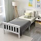 Lit en Bois Lit Simple composé d'un Cadre de lit avec sommier à Lattes Lit en Bois avec tête de lit - 90 x 200 cm en Bois Massif Lit d'enfant, lit d'adolescent, pin Massif, Blanc (sans Matelas)