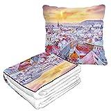Prague in Time - Couverture de voyage 2 en 1 - Vue classique sur les toits enneigés - Couverture en flanelle moelleuse pour la maison, le canapé, le bureau