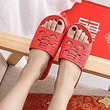 ypyrhh Hommes Usage Usage Extérieur Bain Sandal,Pantoufles Anti-Patinage à Fond Souple,Sandales de Maison Double Bonheur-Rouge_37,Femmes Et Hommes Intérieur Chaussures