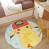 WSSW Pokémon Anime Tapis Pokemon Pikachu Panier Suspendu Chaise D'ordinateur Tapis De Sol Tapis Rond,A-120cm