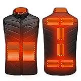 iMixCity Hommes Chauffé Gilet Isolé Veste,Thermique Vêtements de Chauffage électriques d'USB pour Les Activités en Hiver (3XL, 9 Zones de Chauffage)