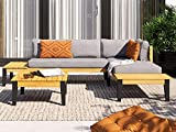 HOMIFAB Salon de Jardin 4 Places en Bois d'acacia Coussins en Tissu Gris chiné - Collection Swann