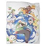 Couverture ultra douce et chaude pour campingAnime Pokémon Ash Ketchum Poster lavable en machine Couverture en tissu ultra doux 150 x 200 cm