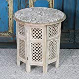 Casa Moro Table d'appoint orientale Haytam 52 x 52 x 54 cm (l x p x h) - Ronde en bois massif de manguier sculpté à la main - Artisanat de Marrakech - Table basse vintage - NH-5326-B