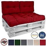 Beautissu ECO Style Lot de 2 Coussins pour Canape Euro Palette - Set de 2 Dossiers de 60x40x10-20cm chacun - Rouge