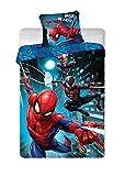 Parure de lit Spiderman 100% Coton - Housse de Couette Réversible 140x200 cm + Taie d'oreiller 65x65 cm