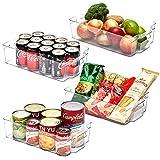EZOWare Panier de Rangement en Plastique, Grand Bacs de Rangement, pour Frigo, Réfrigérateur, Congélateur, Cuisine, étagères, Salle de Bain - Pack de 4