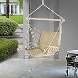 casa.pro Fauteuil Suspendu Chaise de Hamac à Franges Jusqu'à 150 kg avec Accoudoirs en Bois 120 x 100 x 65 cm Beige