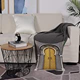Housse de Coussin Polyester Imprimée Cushion Cover,Arabe, porte dorée du palais royal à Fès Maroc oeuvre d'art marocain ,Taie d'oreiller pour Canapé Maison Salon Chambre Décoration D'intérieur,50x50cm