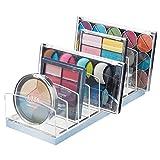 mDesign Rangement pour cosmétiques en Plastique – Rangement Maquillage avec 9 Compartiments – boîte de Rangement pour la Table à Maquillage, la Coiffeuse ou l'armoire – Transparent et Bleu Clair