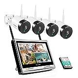 5MP Kit de Caméra Surveillance WiFi avec 12 Pouces Moniteur, Jennov Tout-en-Un Système de Vidéosurveillance sans Fil, 4CH 1920P NVR avec 4pcs 2560*1920P CCTV IP Caméra, 1TB Disque Dur Intégré P2P