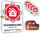 SC ® - Sticker/Autocollant - Alarme Télésurveillance - Vidéosurveillance - Fabrication Française (Lot de 4 Stickers)