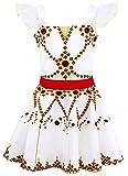 AmzBarley Robe de Félicie Ballerine Fille Enfant Déguisement Robes Danse Ballet Costume Fête Cosplay Halloween Anniversaire Soirée Habiller Cérémonie,6-7 ans,D'or,130