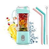 Vaeqozva Mixeur portable rechargeable USB pour smoothie, jus de fruits, milk-shakes - Bleu clair
