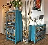 OPIUM OUTLET Combinaison d'une armoire chinoise et d'une commode asiatique - Buffet shabby chic vintage - Style antique (bleu)