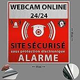 Bizz-Pop Lot de 3 Stickers Alarme Maison Surveillance electronique sur Vinyl Blanc - diamètre 60 mm