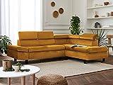 Lisa Design - Nairobi - Canapé d'angle Convertible - en Velours - 5 Places - avec têtières - Droit