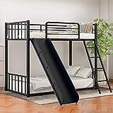 XKun Cadre de lit double avec escaliers, lit superposé en bois avec support de rangement