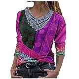 AFFGEQA Femmes Mode Blouse imprimée tie-Dye Hauts à col brodé Hauts à Manches Longues, Pull à imprimé T-Shirt Chemisier Blouse Top