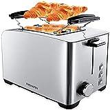 Freihafen Grille-pain en acier inoxydable 2 tranches, 800W Toster avec 6 niveaux de brunissage, fonction de décongélation, réchauffage, fixation du petit pain et plateau ramasse-miettes