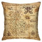 Moshow Taies d'oreiller Housse de Coussin décoration Médiévale Ancienne Pirate Carte au Trésor sur Le canapé lit de Voiture 45X45 CM