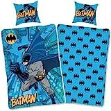 SkyBrands Parure de lit Batman 135 x 200 cm + taie d'oreiller [motif réversible] Parure de lit pour enfant garçon en coton Batman 135 x 200 Certifié Öko-Tex Taille allemande