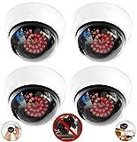 Lot de 4 caméras factices avec 25 LED rouges - En acier - Avec objectif - Pour mur et plafond - Blanc