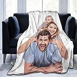 Couverture personnalisée avec texte photo - Couverture en flanelle polaire pour famille, anniversaire, cadeau de mariage - Convient pour canapé, chambre, salon - 152,4 x 127 cm