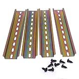 Lot de 4 rails DIN en acier de qualité supérieure pour armoire de distribution - Largeur : 35 mm - Hauteur : 7,5 mm - Longueur : 200 mm - G