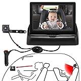 OBEST 4,3' Moniteur de voiture pour bébé, kit de surveillance de bébé de voiture de vision nocturne haute définition, avec caméra, facile à observer chaque mouvement du bébé/enfant dans le siège auto
