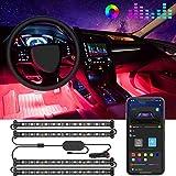 Bande LED Intérieur Auto avec APP, Govee LED Auto Intérieur 4pcs 48 LED Conception à Deux Lignes Améliorée Étanche Multicouleurs sous l'Éclairage de Voiture avec le Chargeur de Voiture, DC12V